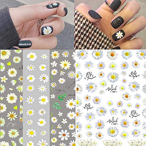 Daisy Nail Art Stickers Decals Nail Art Supplies 4 Design Nail Foil Art Daisy Sun Flower, 3D Nail Art Self-Adhesive Nail Decals for Woman Girl Nail Designs Decorations