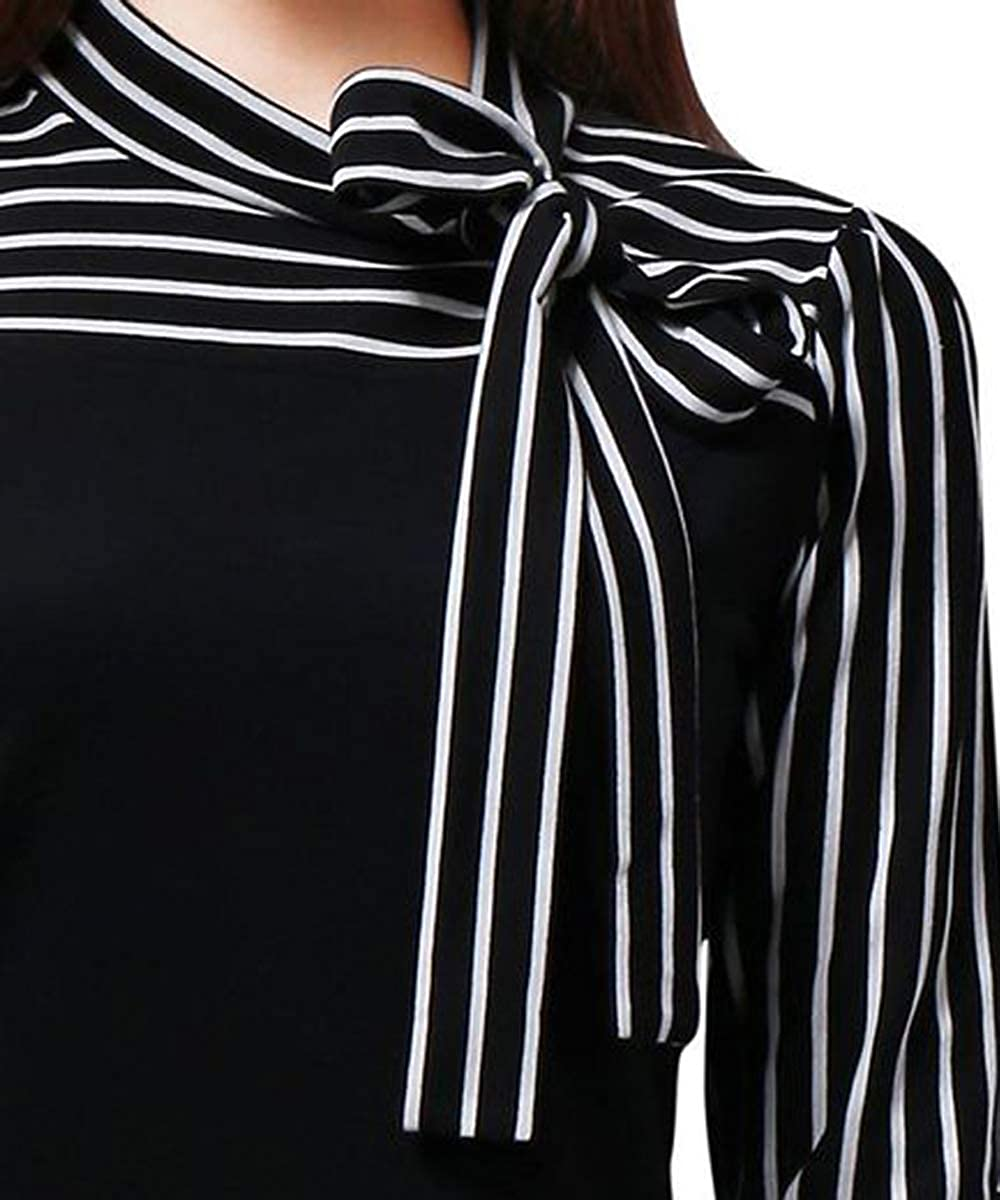Womens Tie-Bow Neck Striped Blouse Long Sleeve Shirt Office Work Splicing Blouse Shirts Tops