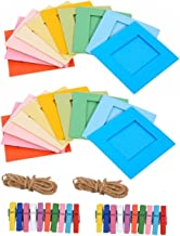 SelfTek 20Pcs Paper Photo Hanging Album Creative Wall Decor DIY Paper Photo Frame Picture Mats with 20Pcs Wooden Clips and 2Pcs Rope Multicolor