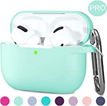 Hamile Compatible with AirPods Pro Case Protective Silicone Airpod Case Shockproof Cover Skin for Apple Airpod Pro 2019 Charging Case, with Keychain, Mint Green