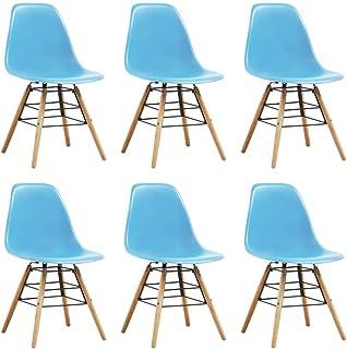 Festnight Sillas de Comedor 6 Unidades Plástico Sillas de Cocina Sillas Modernas Azul 46,5 x 48 x 82 cm
