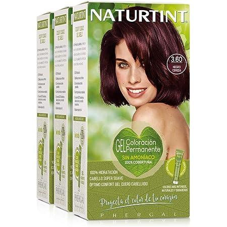 Naturtint Coloración. Tinte sin Amoniaco.100% Cobertura de Canas. Ingredientes y Aceites Vegetales. Color Natural. 3.60 Negro Cereza. Pack de 3