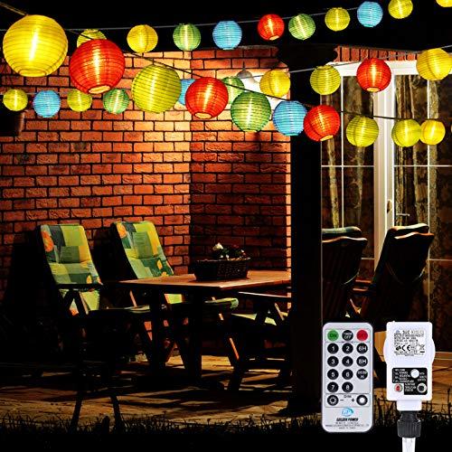 Lampion Lichterkette Außen, 10M 40LED Led Lampions Außen mit Fernbedienung & Stecker, 8 modi und 3 Timing-Funktion, für Garten, Hof, Hochzeit, Fest Deko (Bunt)