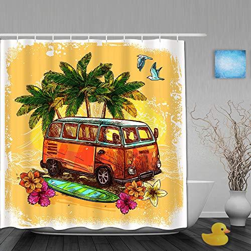 DAHALLAR Cortina de Ducha,Surf Hippie Classic Old Bus con Tabla de Surf Freedom Holiday Exotic Life Sketch Style Art,Tejido de poliéster - con Gancho,180x210