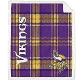 Pegasus Home Fashions Minnesota Vikings 60'' x 70'' Plaid Ultra Fleece Sherpa Throw Blanket