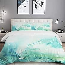 BOKEKANG Teal Watercolour Watercolor Turquoise Mint Ombre Hand Blue Gradient Color Water Studio Single Apartment Decorate Bedding Set Custom Design 3 PC Duvet Cover Set with 2 Pillow sham