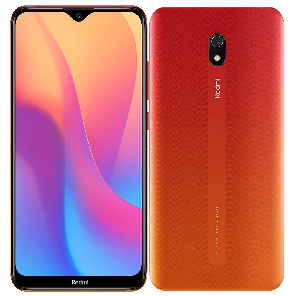 "Xiaomi Redmi 8A (32GB, 2GB RAM) 6.22"" HD Display, Snapdragon 439, 5000mAh Battery, Dual SIM GSM Unlocked - US & Global 4G LTE International Version (Sunset Red, 32 GB)"
