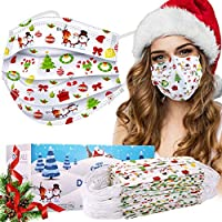 50-Pack Wapike Christmas Disposable 3-Ply Face Masks