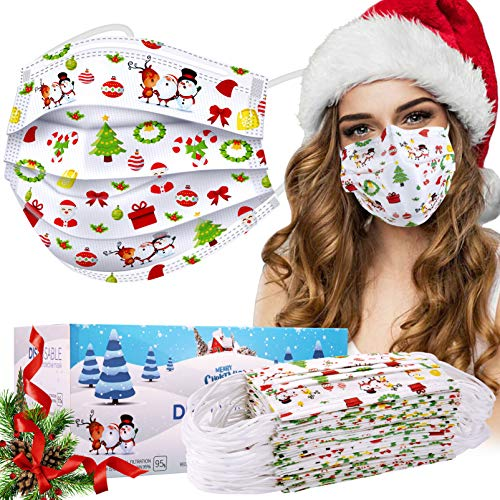 Disposable Face Masks, 50 Pcs Christmas Face Masks (Adult, White)