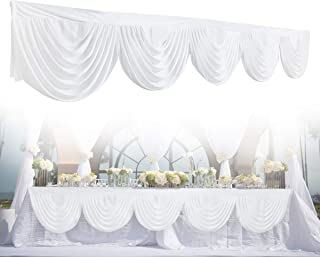 GEMITTO Wedding Backdrop Swag, Window Background Valance, Removable Ice Silk Window Decorative Curtain for Party Wedding Stage Home Decoration Event Designs (White)