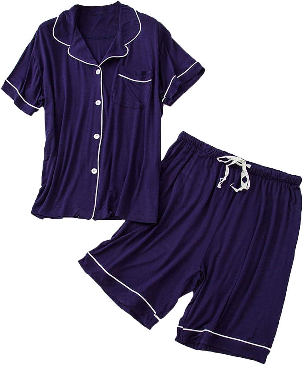 Mens 2 Pcs Button Down Pajama Set Short Sleeves and Shorts Summer Sleepwear Loungewear