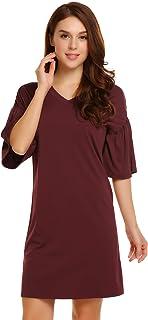 Zeagoo Women's Simple V Neck Ruffle Tweed Half Sleeve Fit Flare Casual Loose Tunic T-Shirt Dress