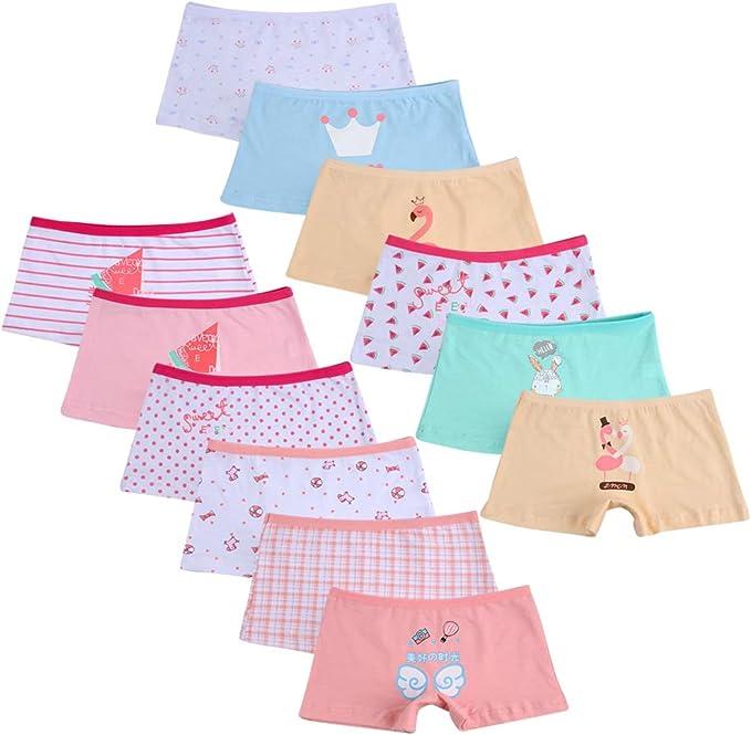 Pack of 12 Kidear Kids Series Little Girls Cotton Boyshort Panties Baby Assorted Underwear