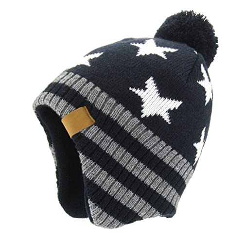 eae684a651c Moon Kitty Baby Boys Girls Knit Hats Winter Fleece Skiing Winter Caps with  Warm Ear Flap