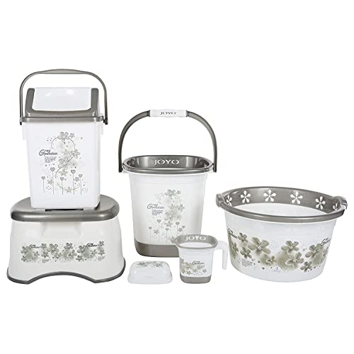 Regalo Joyo Plastic Bucket Set Grey 6 Piece