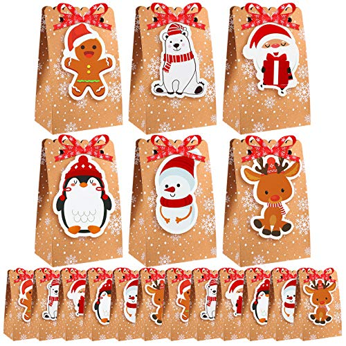 Elcoho 24 Pack Christmas Candy Paper Gift Boxes Christmas Goodies Bags Assortment Party Treat Bags with Tags Snowflake Ribbons for Parties Supplies