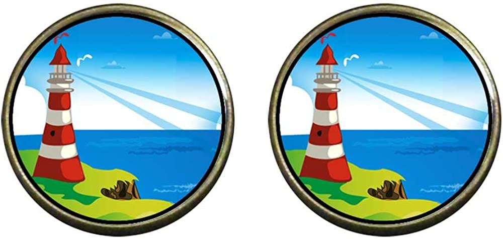 GiftJewelryShop Bronze Retro Style Travel Culture Lighthouse Photo Clip On Earrings 14mm Diameter