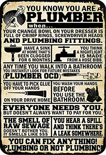 ERMUHEY Plumbing You Know You are A Plumber Vintage Retro Poster Wall Decoration House Garden Office Bar Club Fashion Home Wall Decor Man Cave Tin Sign 3020cm