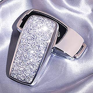 Luxury 3 4 Buttons 3D Bling Smart keyless Entry Remote Key Fob case Cover for Mercedes-Benz E-Class S-Class W213 2016 2017 2018 2019 Keychain (Silver)