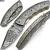 9032 Artesanal de acero de Damasco Cuchillo de bolsillo plegable con funda