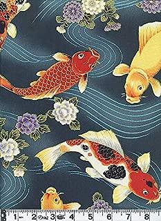 Koi & Drifting Blossoms: Jade Green Asian Japanese Fabric - by The 1/2 Yard