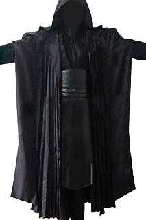 Men's Cosplay Costume Black Linen Cotton Halloween Uniform Tunic Robe