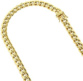 IcedTime 10K Yellow Gold Hollow Miami Cuban Link Chain Necklace with Box Lock Clasp Open Link 10mm Wide