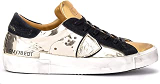 Philippe Model Woman's Sneaker Paris X Model in Gold Leather and Black Suede. Mirrored Details.