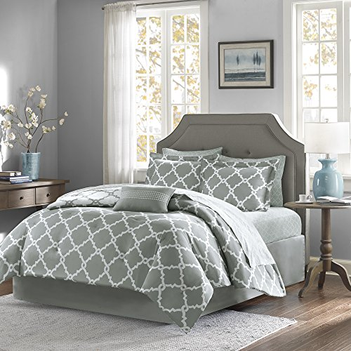 Madison Park Essentials Merritt Twin XL Size Bed Comforter Set Bed in A Bag - Grey, Geometric – 7 Pieces Bedding Sets – Ultra Soft Microfiber Bedroom Comforters