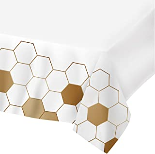Plastic Tablecloths for Rectangle Tables,- 4 Pack - Party Table Cloths Disposable,Gold Honey Comb, Rectangular Table Covers for Parties Thanksgiving Christmas Wedding, Anniversary, Bridel, Baby Shower- 54