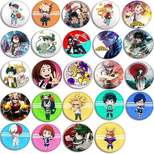 My Hero Academia Button Pins Set - 24 Pack My Hero Academia Button Pins MHA Characters Pins Bag Accessories for Anime MHA Fans(2.28' in Diameter)