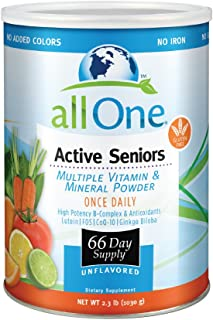 allOne Multiple Vitamin & Mineral Powder, For Active Seniors | Once Daily Multivitamin, Mineral & Amino Acid Supplement w/...