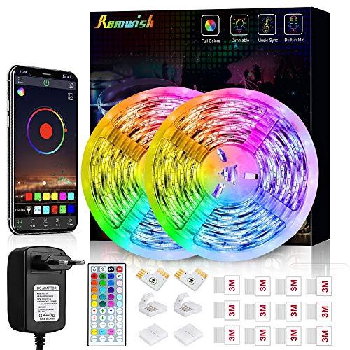 Tiras LED 10M, Romwish 5050 SMD RGB con Control Remoto IR de 44 Botones & Control Bluetooth,para la Habitación, Dormitorio, Fiestas, Bares