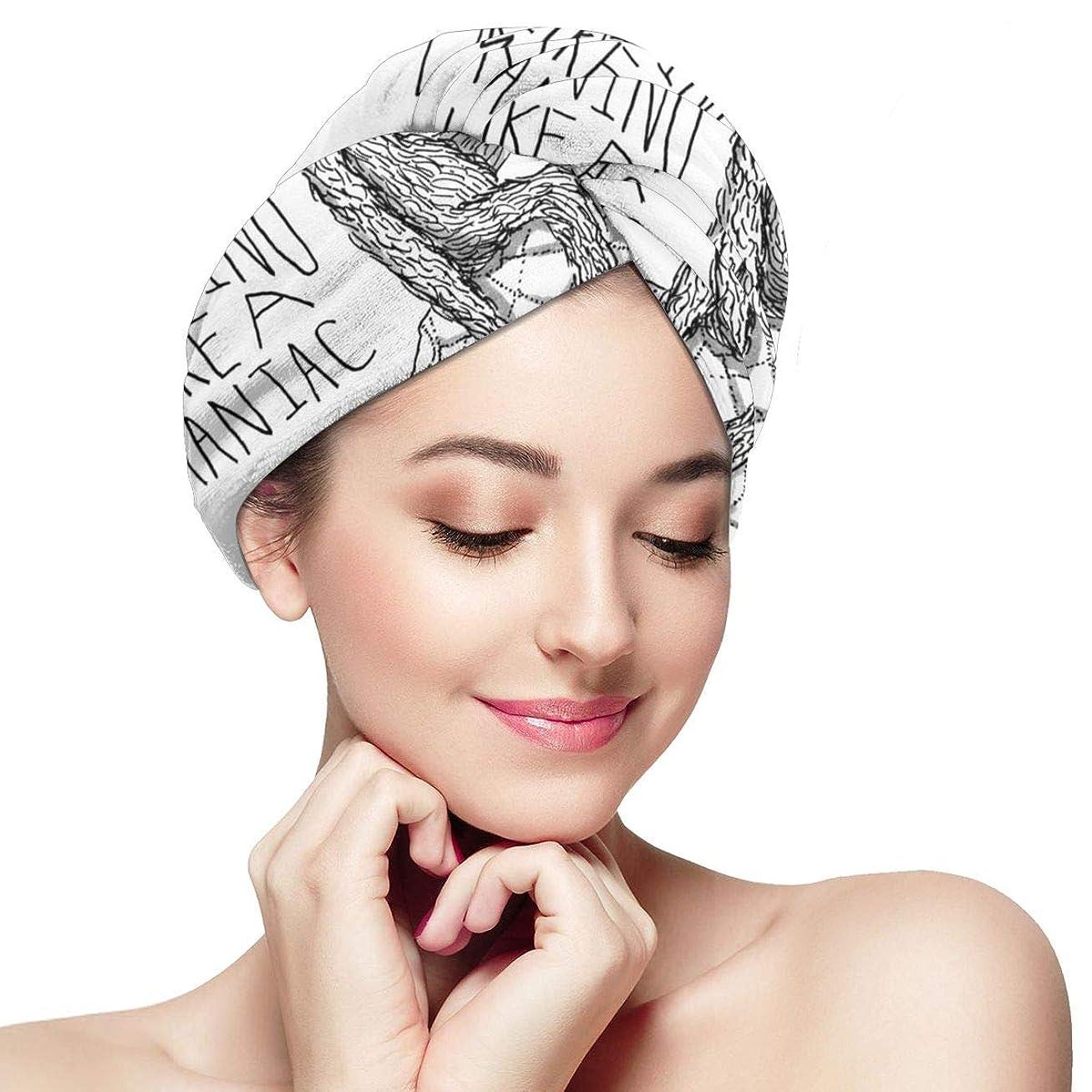 作詞家劇場自動車ゆっくりと亀のマイクロファイバーヘアタオルラップ超吸収性ツイストターバンボタン付き高速乾燥ヘアキャップバスループは、乾燥した髪の帽子を留める