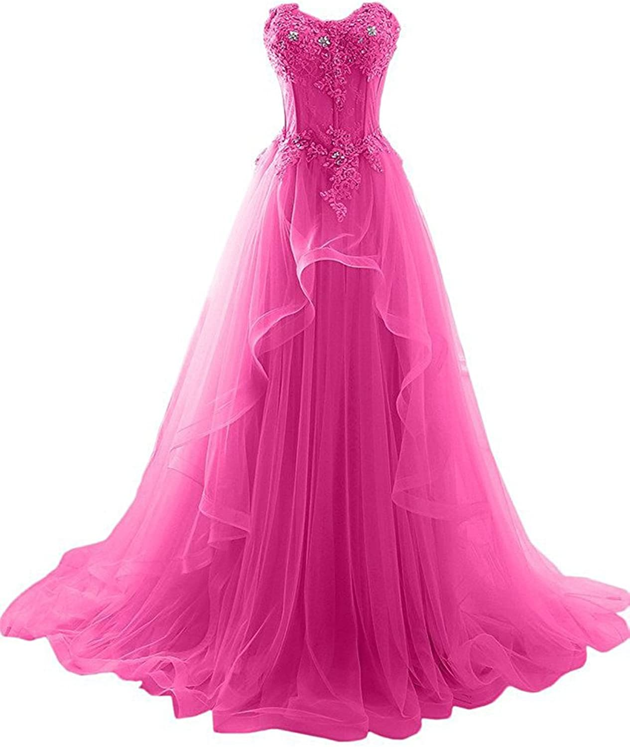 Beilite Sweetheart Beaded Prom Dress Tulle Long Party Gown