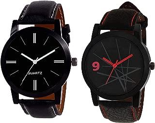New Raiyaraj Embroidery Professional Analogue Black Men's Watch - Set of 2