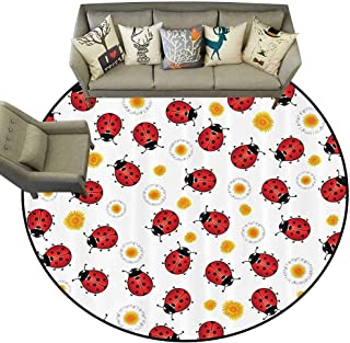 Round Area Rug Ladybugs Decorations Collection Ladybugs Ladybird Flowers Spring Blossoming Sunny Day Doodle Joyful Illustration Image Living Dinning Room and Bedroom Rugs D51 Red