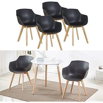HJ WeDoo 4er Set Wohnzimmerstuhl Esszimmerstuhl mit Armlehne und Buchenholz Retro Design Stuhl für Büro Lounge Küche Wohnzimmer (Schwarz)