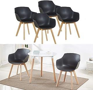 Lot de 4 Chaise Salle à Manger, H.J WeDoo Fauteuils Scandinave de Chaise latérale Design rétro avec Jambe de Bois de hêtre...