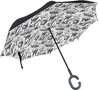 Inverted Umbrella Halloween Witch Hat Cauldron Fall Jack Lantern Black Reverse Umbrella UV Protection Windproof for Car Rain Sun Outdoor Black