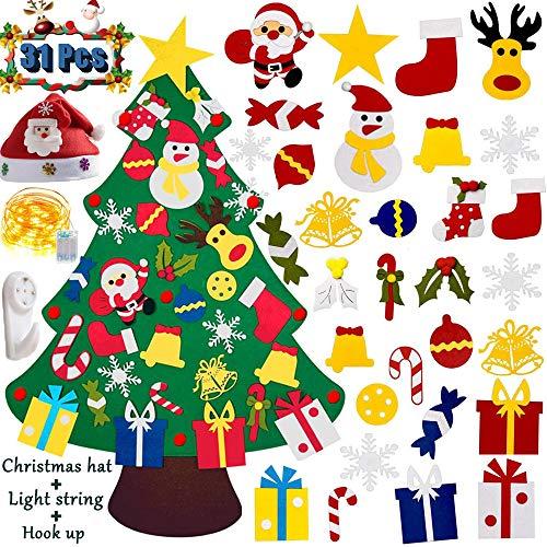 YJT-smyer DIY Felt Christmas Tree Set with 31Pcs Detachable Ornaments, Xmas Decorations, Kids Wall Hanging Xmas Gifts, DIY Home Decoration,Children's Handmade Felt Craft Kits New Year Gifts