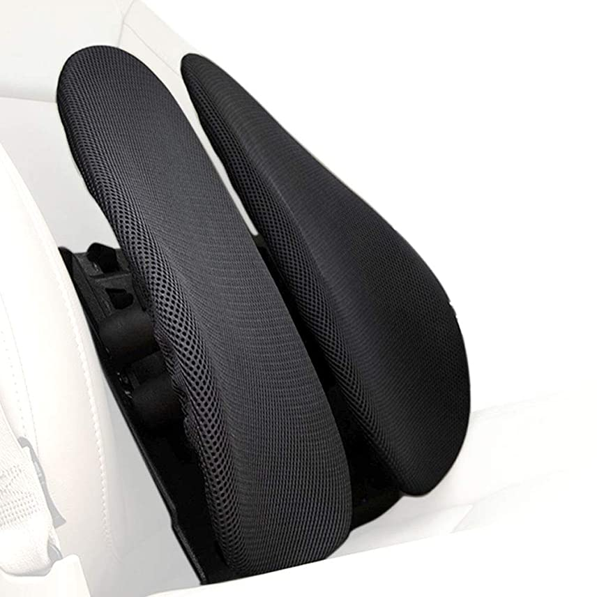 セールスマンのぞき見暗唱するPOVAST カーシート ランバーサポートピロー 腰部クッション メッシュカバー付き 人間工学的ウィングパネルデザイン 長時間座り心地の痛みを緩和 ブラック V010-18