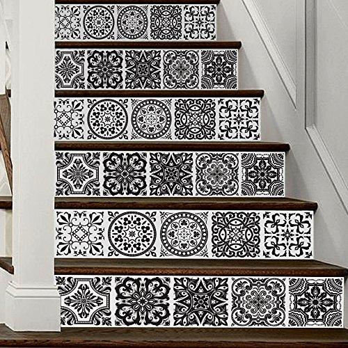Treer 6 Piezas Pegatinas de Pared PVC, Adhesivo para Azulejos, 3D Impermeables Pegatinas de Escalera Autoadhesivos para Cocina Salón Baño Decoración Hogar (Blanco Negro,18x100cm*6piezas)