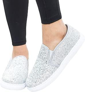 LAICIGO Women's Fashion Sneakers Platform Low Cut Slip-on Faux Suede Round Toe Flat Shoes