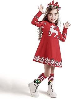 ANJUNIE Winter Christmas Pullover Sweater Dress Toddler Girls Crochet Knit Dress+Hairband Outfits