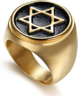 JAJAFOOK Hexagram Six-Pointed Jewish Star of David Inlay Wedding Band Rings for Men, Gold Tone