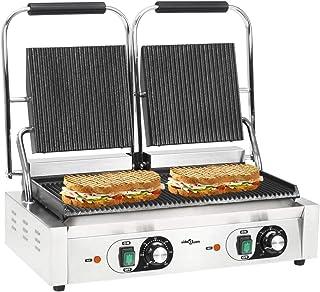 GOTOTOP Grill Viande Multifonction, plancha, Presse à paninis, Appareil à sandwichs avec 2 régulateurs de température et 1...