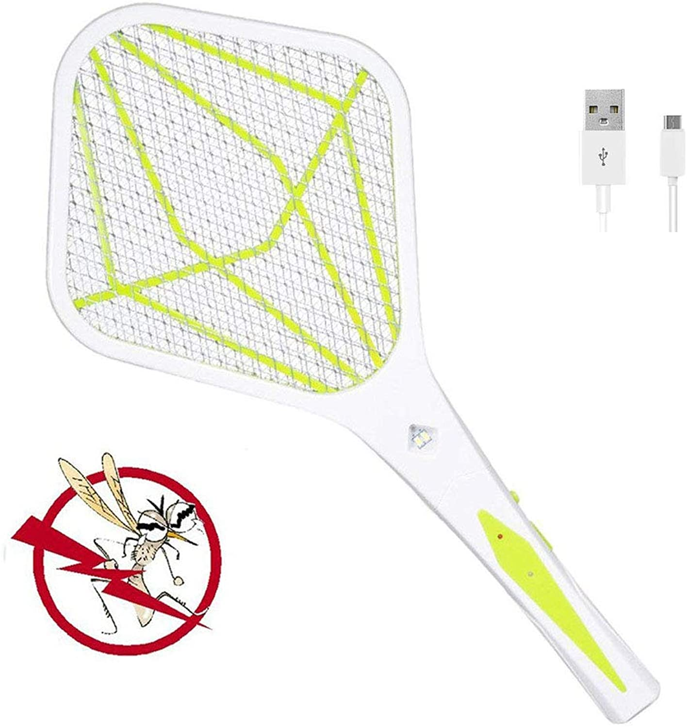 Rechargeable Bug Zapper Racket  Electric Fly Swatter and Mosquito Killer USB Charging  3000 Volt  Bright Led Light  Unique 3Layer Safety Mesh Safe,Green(Size  About 260  550 Mm)