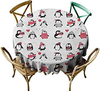 Zmstroy Decorative Textured Fabric Tablecloth Winter Cute Penguins Hand Drawn Merry Christmas Greetings Babies Kids Toddler Easy to Clean D35 Dark Coral Black White