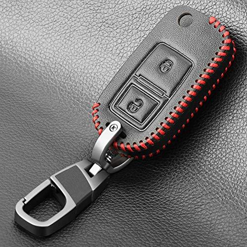 USNASLM Funda de piel con 2 botones para llave de coche, para Volkswagen Golf Bora Jetta para Seat Altea Alhambra Ibiza Polo T5 Passat